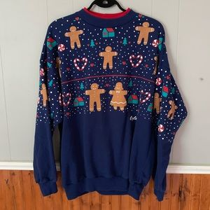 Sweaters - Retro Ugly Holiday Sweater Gingerbread Men Blue